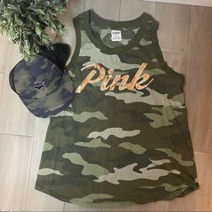 Victoria's Secret PINK Camo Racerback Tank and Hat